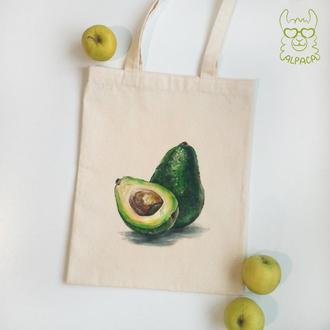 Экосумка, шоппер  экоторба, авокадо, роспись по ткани