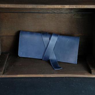 Клатч с закруткой Винтажная кожа цвет Синий