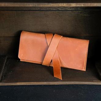 Кожаный кошелек, Клатч с закруткой, кожа Crazy Horse, цвет Коньяк