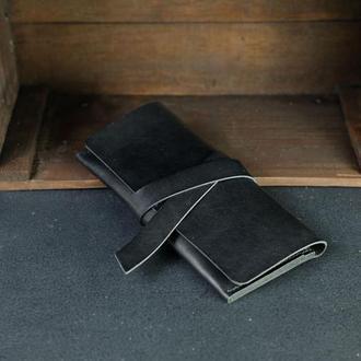 Кожаный кошелек, Клатч с закруткой, кожа краст, цвет Черный