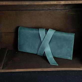 Кожаный кошелек, Клатч с закруткой, кожа Crazy Horse, цвет Зеленый