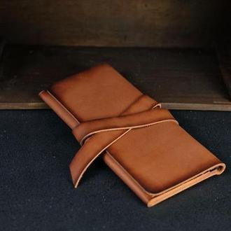 Кожаный кошелек, Клатч с закруткой, кожа краст, цвет Коричневый