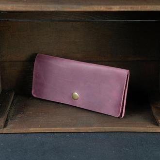 Кожаный кошелек, Баттерфляй, кожа Crazy Horse, цвет Бордо