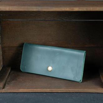 Шкіряний гаманець, Батерфляй, шкіра Crazy Horse, колір Зелений
