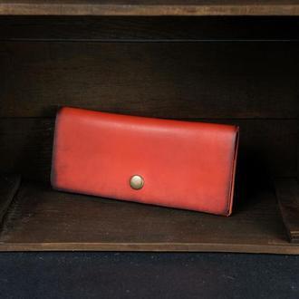 Кожаный кошелек, Баттерфляй, кожа итальянский краст, цвет Красный