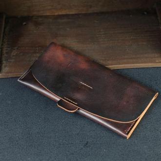"""Кожаный кошелек, Клатч """"Баттерфляй 2"""", кожа краст, цвет Вишня"""