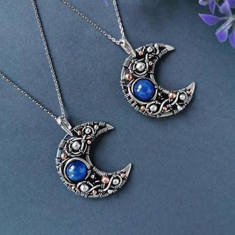 Серебряная луна с синим кианитом. Серебряный кулон. Авторское украшение в подарок девушке