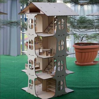 Эко игрушка паззл 4-х этажный кукольный домик