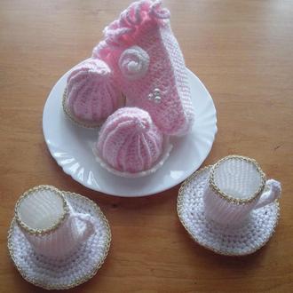 вязаные чашки, тарелки, зефир, торт/декор для кухни/игрушки в виде еды