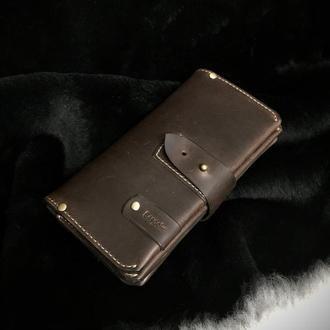 """Мужской клатч  """"Hanter"""" натуральная кожа /Кожаное портмоне-клатч /Подарок мужчине"""