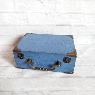 Шкатулка чемодан для денег  Мужская шкатулка для часов украшений аксессуаров Винтажный чемоданчик