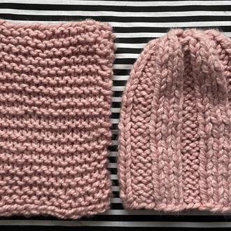 Набір шапка і шарф Альпака Роза