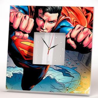 """Настенные часы с декором в детскую комнату """"Супермен"""""""