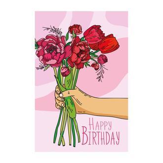 Листівка Happy birthday - півонії рожевий