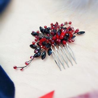 Червоне та чорне - заколка гребінь для волосся , безкоштовна доставка Укрпоштою