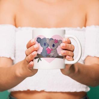 """Чашка с принтом """"Влюбленные коалы"""""""