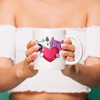 """Чашка с принтом """"Коты с сердцем"""""""
