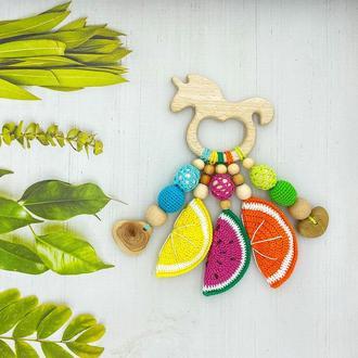 Деревянный грызунок-погремушка фруктово-ягодный, единорог