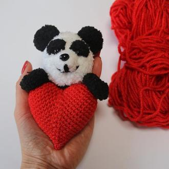 Магнит валентинка, Валентинка Панда, Сердце с Пандой, Медвежонок и сердце
