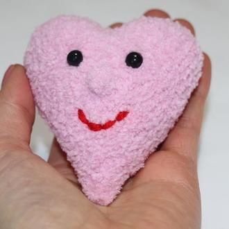 Сердце, Магнит валентинка, вязаное сердце смайлик