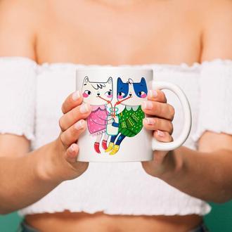 """Чашка с принтом """"Яркие коты"""""""