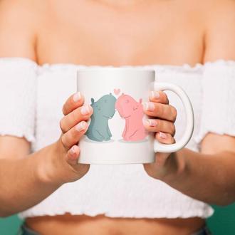 """Чашка с принтом """"Влюбленные бегемотики"""""""