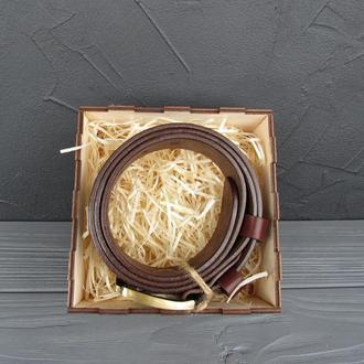 Мужской коричневый классический ремень из натуральной итальянской кожи