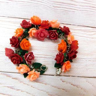 Браслет с розами из полимерной глины
