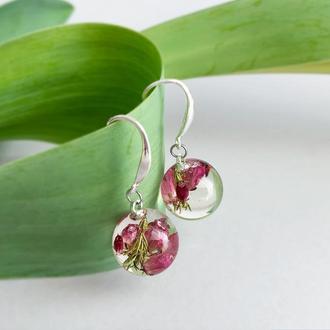 Серебряные серьги с цветами вереска. Украшения с растениями. Эрика. (модель № 2552) Glassy Flowers
