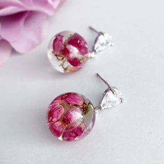 Маленькие серьги с цветами вереска. Украшения с растениями. Эрика. (модель № 2553) Glassy Flowers