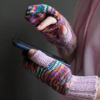 """рукавички для користування мобільним """"Кольоровий меланж з бузковою гумкою"""""""