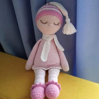 Кукла сплюша Соня. Вязаная кукла для сна