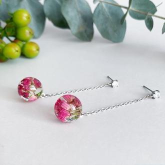 Серьги с вереском на длинных цепочках Украшения с цветами и растениями (модель №2555) Glassy Flowers