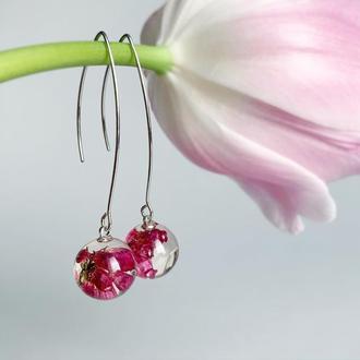 Длинные серьги с вереском. Украшения с цветами и растениями (модель №2557) Glassy Flowers