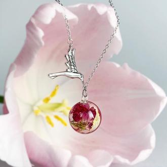 """Подвеска """"птичка"""" с цветами розового вереска. Украшения из цветов. (модель № 2558) Glassy Flowers"""