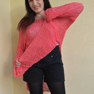Туника терракотового цвета Небрежный женский свитер на весну Рваная одежда