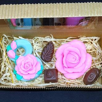 Набор мыла восьмерка, роза, конфеты