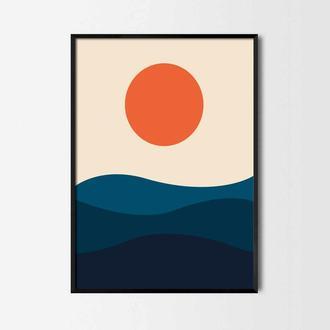 Графический постер Красное солнце