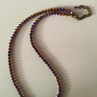 Ожерелье из камня гематит (радуга)
