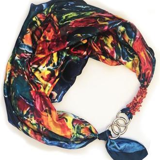Атласный  платок ,, Венецианская весна,, от бренда My Scarf, подарок женщине