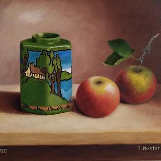Натюрморт яблоки и зелёная ваза