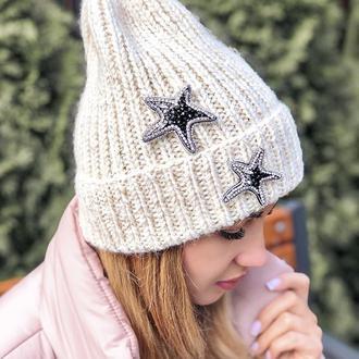Брошь звезда  с камнями Swarovski / Парные брошки / подарок на День Влюблённых