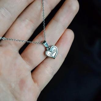 Стильная подвеска с кулоном в форме сердца и надписью Love. Подарок девушке на 14 февраля, 8 марта.