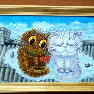 """Картина маслом """"Побачення в хмарах"""""""