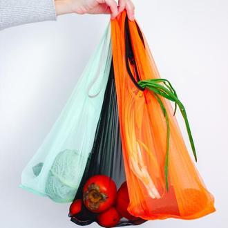 Мешочек, многоразовый непакет, яркая оранжевая  сумка пакет. замена пакетам Львов Киев сетка