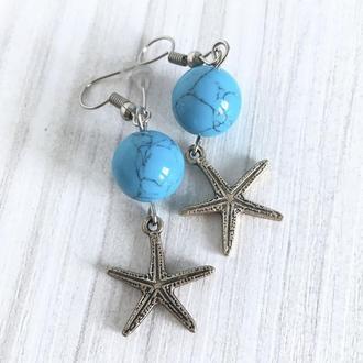 Серьги с бирюзой и подвеской морская звезда