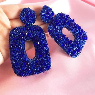 Праздничные синие серьги гвоздики с камнями