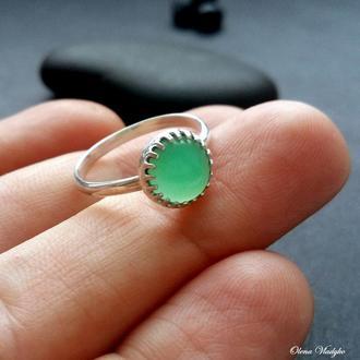 Серебряное кольцо с хризопразом,серебряное кольцо с натуральными камнями, подарок