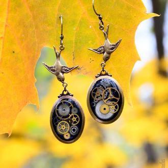Часовые времени - серьги в стиле steampunk из волшебной фурнитуры VINTAGE (одна пара в наличии)