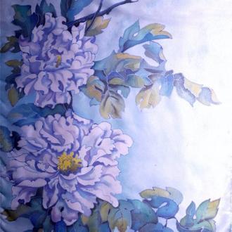 шарф хризантемы батик